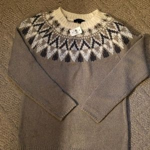 Ann Taylor taupe, cream wool sweater
